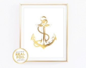 Anchor, Real Foil Print, Silver foil, Gold Foil Print, 8x10, Home Decor, Wall Art, Foil Anchor, Nautical Beach Cottage Decor