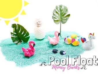 SALE - Flamingo Pool Float Money Bank - Unicorn Money Banks - Table Top Decoration - Kids Room Decor Animal Statue, Piggy Bank, Swear Jar