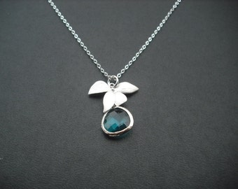 wild orchid flowers and the blue zircon bezel necklace - white gold plated, Bridesmaids gift, Wedding Gift