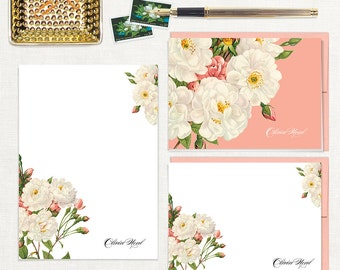 complete personalized stationery set - WHITE and CORAL wild ROSES - note cards - custom notepad - stationary - botanical - floral - flowers