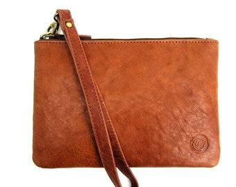 Veg Tan Leather Clutch Bag/Make Up Bag