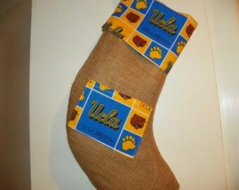 UCLA Bruins Burlap Christmas Stocking with a Pocket