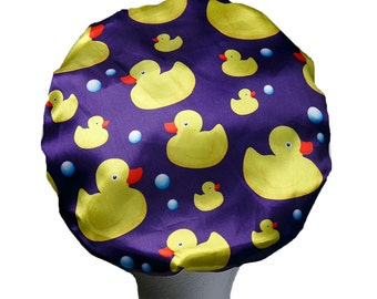 Dilly's Collections Microfiber Duck Shower Cap Premium Hair Protection 3 Layer comfortable Saves The Blow Out Hair Protection