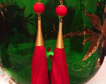 Free Shipping! Handmade Long Earrings with Natural Japanese Silk Tassel 16 cm drop length