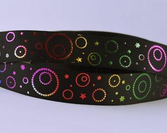 "Metallic Rainbow Swirls Circles Black Printed Grosgrain Ribbon 7/8"" Scrapbooking HairBows Parties DIY Projects MR010518"