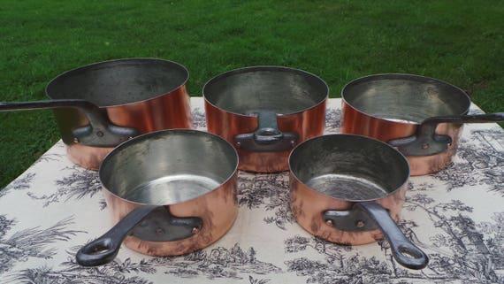 Copper Pans 1.3mm-1.5mm Vintage French Copper Set Five Graduated French Vintage Fabulous Manufacture Larger Set 14cm - 22 cm 5768
