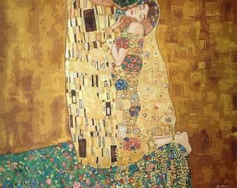 "Gobelin Tapestry Needlepoint Kit ""The Kiss"" Gustav Klimt printed canvas 649"