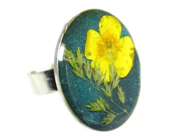 Buttercup, Pressed Flower Ring, Adjustable , Real Flowers Jewelry,  Resin (1519)