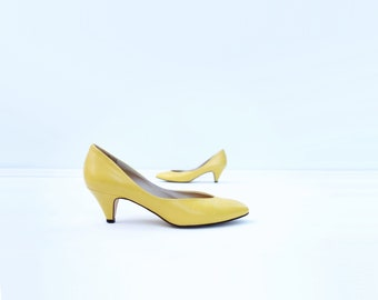 Vintage Yellow Pumps Kitten Heel Pumps 5.5 1980s Shoes Buttercup Yellow Vintage Low Heels Leather Yellow Shoes Enzo Angiolini Italy 5 1/2