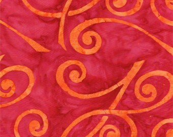 Tropical Sorbet Batik from Batik Textiles - Full or Half Yard of Red + Orange Fabric