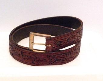 Vogt Tooled Leather Belt with Leaves & Flowers Vintage Dark Brown Leather Floral Leaf Design Cowboy Rockabilly Western Waist 42 Old Mexico