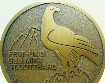 An eagle on a large beautiful Swiss military medal from Switzerland - adler - adelaar - aigle - bald eagle