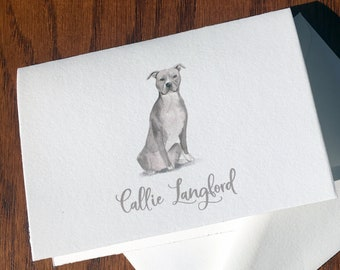 Pit Bull Personalized Stationery, great gift for dog lovers, Pittie stationery set 100% Cotton Savoy, custom gifts for dog lovers