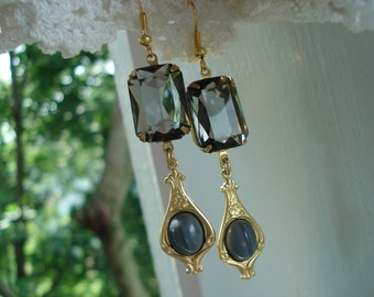 Vintage Gray Faceted Crystal and Grey Agate Glass Gold Dangle Earrings Woodland Art Deco