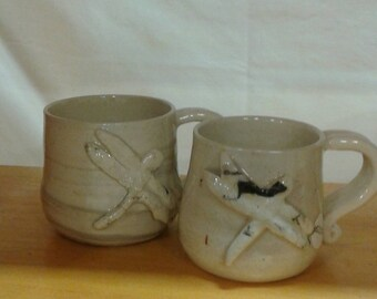 Espresso Pottery Mug, One Small Cup, PotteryTea Cup, Dragonfly Design, Cottage Chic Cup, Wheel Turned, Handmade in Canada