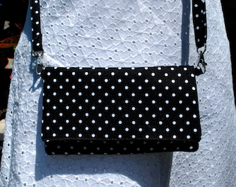 iPhone X 8/8Plus Android Cell Phone Purse Cross Body Shoulder Bags Zipper Pocket Black White Polka Dots And Stripes