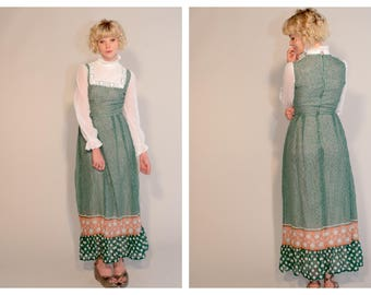 Vintage 70's 1970's Richards Shops Prairie Modest Victoriana High Neck Maxi Dress XS Polka Dot Gauze Arms