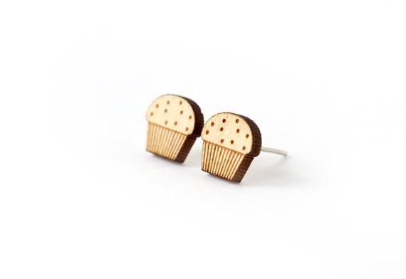 Muffin stud earrings - tiny food post earrings - mini jewelry - graphic cute jewellery - lasercut wood - hypoallergenic surgical steel