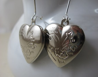 Heart Locket Earrings, Silver Locket Silver Heart Earrings