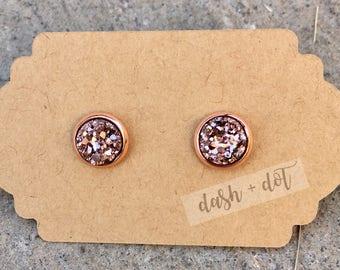8mm Rose Gold Druzy Earring / Surgical Steel Earrings / Faux Druzy Earrings / Stud Earrings / Rose Gold Earrings / Childrens Earrings
