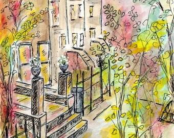 Brownstones, watercolor print, watercolor art, archival print, city street art, brooklyn painting, watercolor landscape, city buildings.