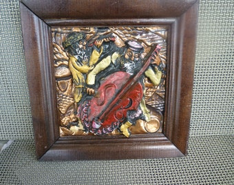 Vintage Israeli 3D art on copper playing instruments signed by artist Yigal