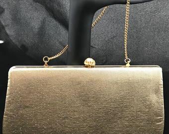 Vintage Gold Clutch with Rhinestone Closure
