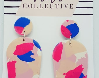 Large Dome Dangles / Polymer Clay / Pink Splash 733