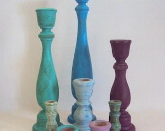 Bohemian Decor Candlestick Set - Colorful Boho Wanderlust Decor - Gypsy Decor - 8 Piece Candle Holder Set - Jewel Tone Wooden Decorations