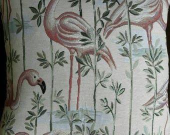 square cushion flamingo roses print