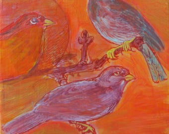 original small affordable art - Three Birds on a Branch - one of a kind acrylic painting by Irene Stapleford - wantknot shop