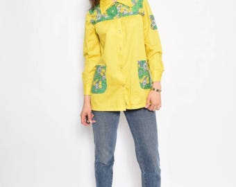Vintage 70's Lemon Yellow Button Shirt / Yellow Tent Top - Size Extra Small