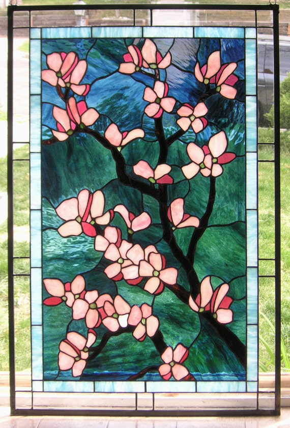 Stained Glass Window Panelpink Dogwood Flowers 24 X
