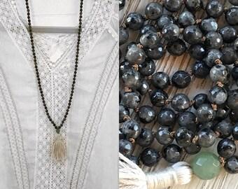Mala Beads, Mala, Labradorite Mala, Tassel Necklace, Yoga, Knotted Mala, 108 Beaded Mala