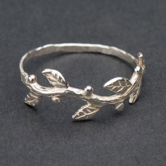 Silver twig ring tree branch ring Silver organic ring