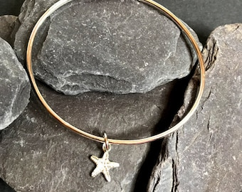 Bangle with Starfish Charm, Sterling Silver Oval Bangle, Sand Cast Starfish Charm