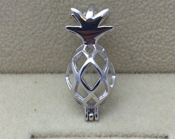 925 Sterling Silver Pineapple Pearl Cage Pendant
