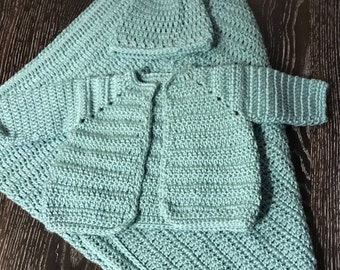 Crochet Baby Blanket with Hat & Sweater