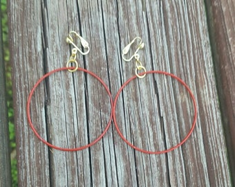"2"" Gold Clips Dangle Small Red Hoop Earrings"
