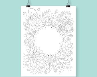 Coloring Print / Flower Coloring / Adult Coloring page / Printable / DIY / Art Print