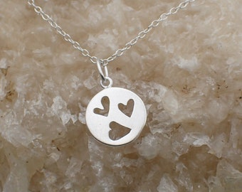 Cut Out Hearts Necklace Sterling Silver Dainty Heart Charm 3 Heart Pendant Cable Chain