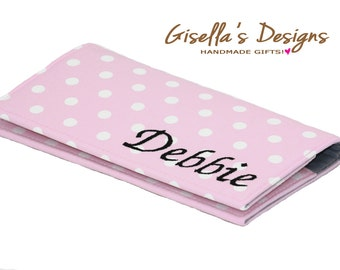 Pink polka dots Checkbook cover, Personalized Checkbook case, Custom Made women gift, Monogram Mother's day gift