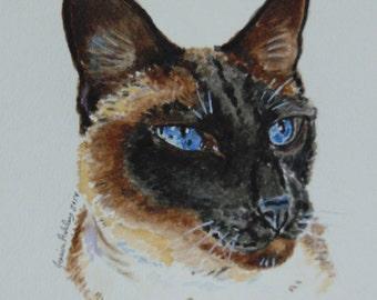 Custom Cat portrait, Cat portrait, watercolor, pet portrait, watercolor painting, custom cat painting, cat owner gift, cat wall art