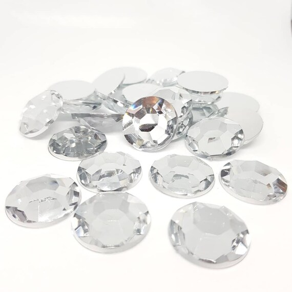 MajorCrafts® 25pcs 20mm Crystal Clear Flat Back Taiwan Acrylic Rhinestones Gems C1