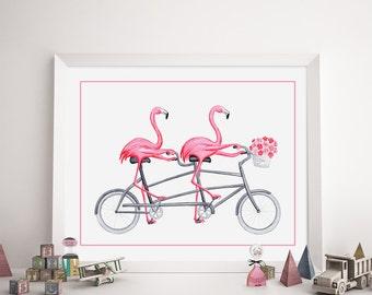 Affiche flamants roses à bicyclette, en vélo tandem, affiche pour enfant, formats 5 x 7'', 8 x 10'' et 11 x 14''