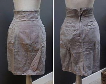 Vintage Light Grey High Waisted Pencil Skirt, Grey Work Skirt Vintage Gray Skirt Classic Pencil Skirt Simple Pencil Skirt