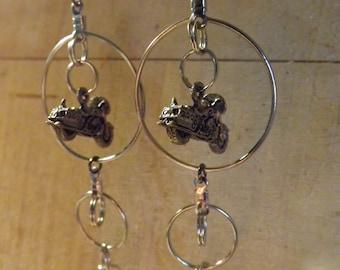 Motorcycle Charm Silvertone Hoops,Split Ring Earrings