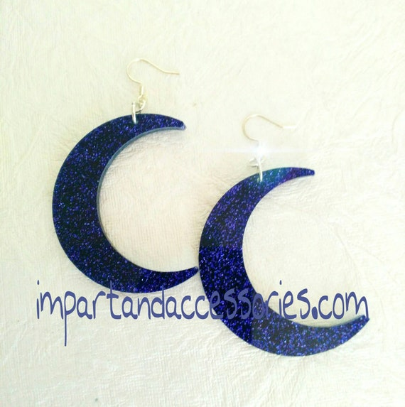XXL CRESCENT MOONS- Purple glitter laser cut acrylic crescent moon earrings on silver findings.