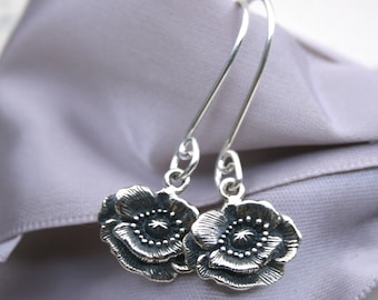 Sterling Poppy flower earrings Vintage inspired design