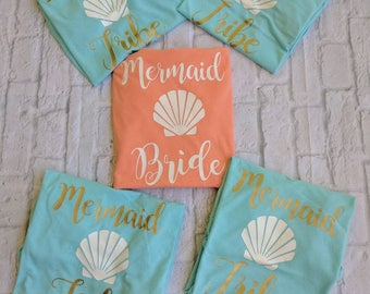 Mermaid Bachelorette party shirts, bachelorette shirts, wedding custom bridal party shirts, mermaid tribe, mermaid bribe shirts